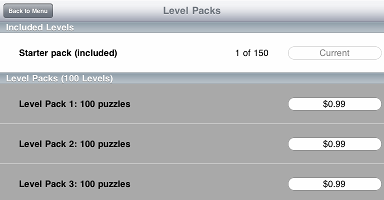 View of Level Packs with nothing purchased yet.