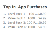 Screen shot of our in app purchases in the app store