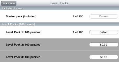 The Puzzle pack has been bought, but not yet selected.