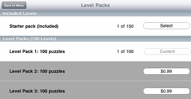 The new Puzzle pack is now selected and ready to play