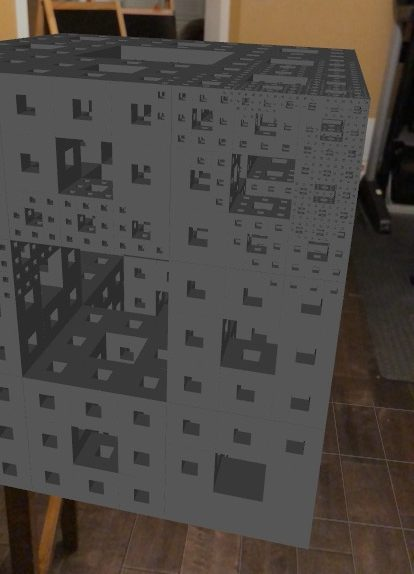 Menger Sponge iterated manually by the user through their zooming.